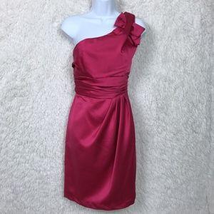Davids Bridal Pink One Shoulder Bridesmaid Dress